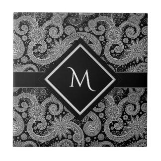 Monogram Black Paisley Ceramic Tile