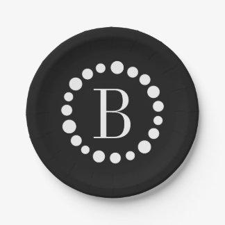 Monogram Black Paper Plate