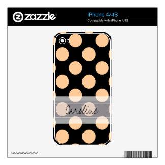 Monogram Black Peach Chic Polka Dot Pattern Skin For iPhone 4