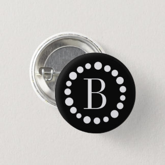 Monogram Black Pinback Button
