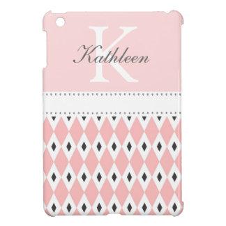 Monogram Black & Pink Argyle  iPad Mini Case