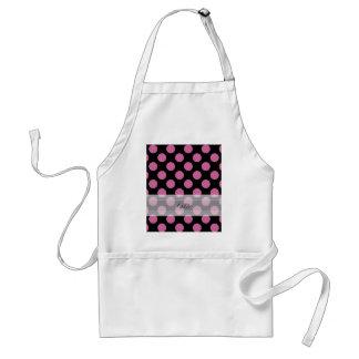 Monogram Black Pink Chic Polka Dot Pattern Adult Apron