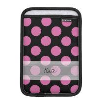 Monogram Black Pink Chic Polka Dot Pattern iPad Mini Sleeve