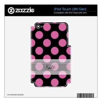 Monogram Black Pink Chic Polka Dot Pattern iPod Touch 4G Decal