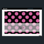 "Monogram Black Pink Chic Polka Dot Pattern Laptop Skin<br><div class=""desc"">Monogram Black Pink Chic Polka Dot Pattern. Trendy, fun, cute, girly, stylish, modern black and pink polka dot pattern with pink polka dots against a black background. The design includes a transparent white sash that can be customized with your monogram or name. Personalize it further by adding photos and/or text...</div>"