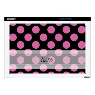 Monogram Black Pink Chic Polka Dot Pattern Laptop Skin