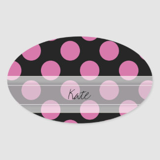 Monogram Black Pink Chic Polka Dot Pattern Oval Sticker