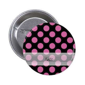 Monogram Black Pink Chic Polka Dot Pattern Pinback Button