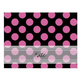 Monogram Black Pink Chic Polka Dot Pattern Postcard