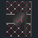 """Monogram Black pink diamonds iPad Air Case<br><div class=""""desc"""">Black pink diamonds (not real diamonds) tuft pattern and black diamonds stripe (not real diamonds), black scallop circle your monogram gifts or your initials letter change to any letter a, b, c, d, e, f, g, h, i, j, k, l, m, n, o, p, q, r, s, t, u, v,...</div>"""