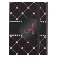 Monogram Black pink diamonds iPad Air Case
