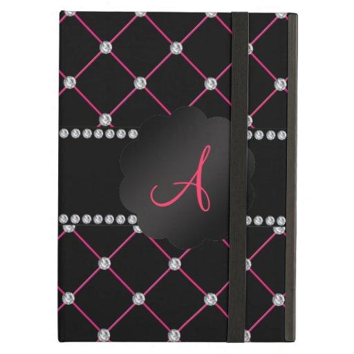 Monogram Black pink diamonds iPad Folio Case