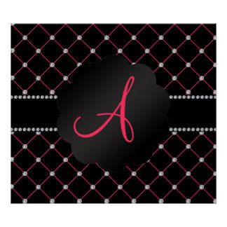 Monogram Black pink diamonds Poster