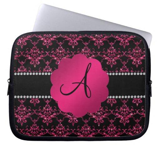 Monogram black pink glitter damask laptop sleeves