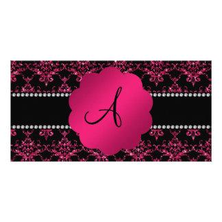 Monogram black pink glitter damask photo card