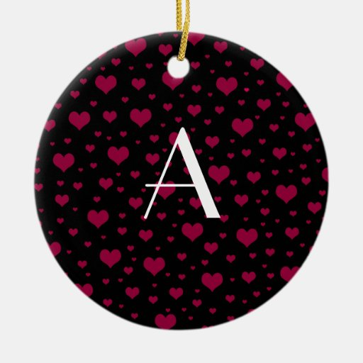 Monogram black pink hearts Double-Sided ceramic round christmas ornament