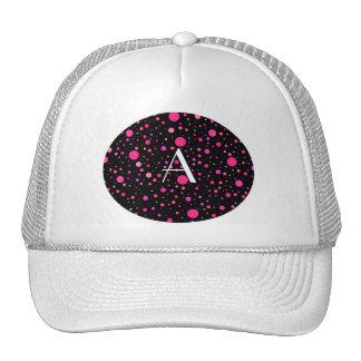 Monogram black pink polka dots trucker hat