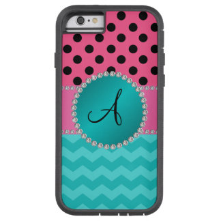 Monogram black pink polka dots turquoise chevrons tough xtreme iPhone 6 case