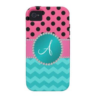Monogram black pink polka dots turquoise chevrons iPhone 4 cases
