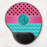 Monogram black pink polka dots turquoise chevrons gel mouse pads