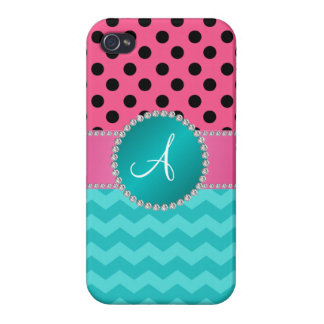 Monogram black pink polka dots turquoise chevrons iPhone 4 case