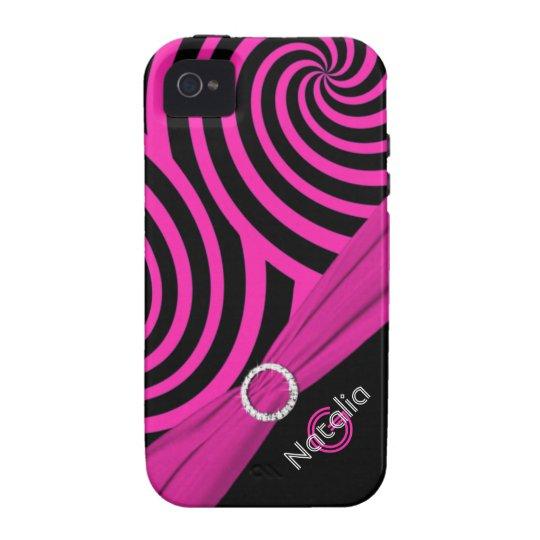 Monogram Black Pink Swirly Stripes iPhone 4 Vibe Case-Mate iPhone 4 Cover