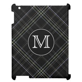Monogram Black Plaid iPad Case