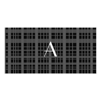 Monogram black plaid photo greeting card