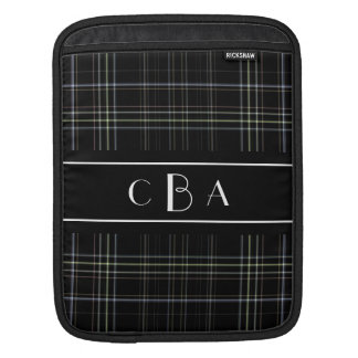 Monogram Black Plaid Sleeve For iPads