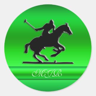 Monogram Black Polo Rider on green metal-look Classic Round Sticker