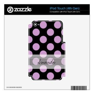 Monogram Black Purple Chic Polka Dot Pattern iPod Touch 4G Decals