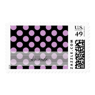 Monogram Black Purple Chic Polka Dot Pattern Postage