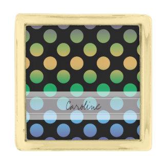 Monogram Black Purple Green Gold Polka Dot Pattern Gold Finish Lapel Pin