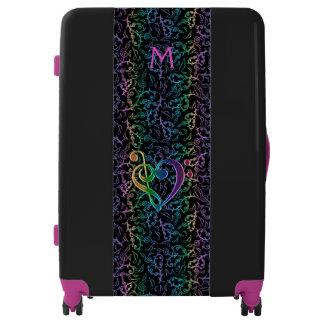 Monogram Black Purple Rainbow Music Notes Luggage