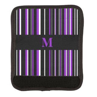 Monogram Black, Purple, White Barcode Stripe Luggage Handle Wrap