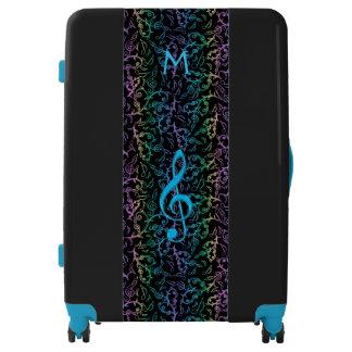 Monogram Black Rainbow Music Note Pattern Luggage