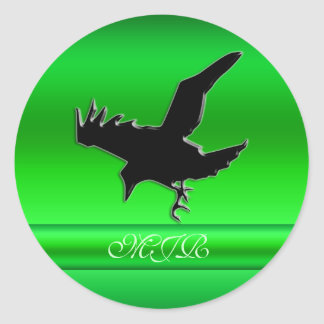 Monogram, Black Raven logo on green chrome-effect Classic Round Sticker