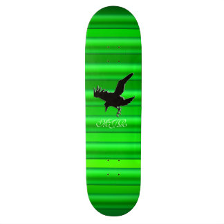 Monogram, Black Raven logo on green chrome-effect Skateboard