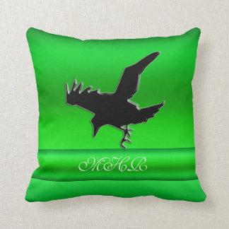 Monogram, Black Raven logo on green chrome-effect Throw Pillow
