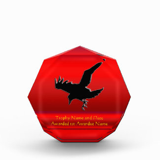 Monogram, Black Raven logo on red chrome-effect Award
