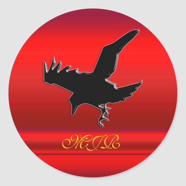 Monogram, Black Raven logo on red chrome-effect Classic Round Sticker