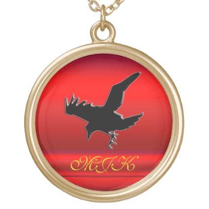 Monogram, Black Raven logo on red chrome-effect Pendant