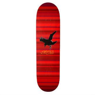 Monogram, Black Raven logo on red chrome-effect Skateboards