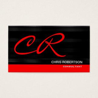 Monogram Black Red Consultant Business Card