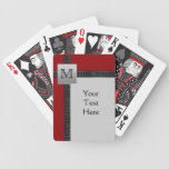 Monogram Black, Red, Gray Playing Cards