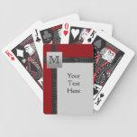 Monogram Black, Red, Gray Playing Cards
