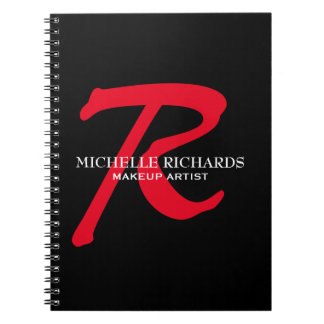 Monogram Black & Red Makeup Artist Notebook