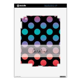 Monogram Black Red Purple Blue Polka Dot Pattern Decals For iPad 2