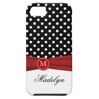 Monogram Black Red White Polka Dot iPhone 5 Case