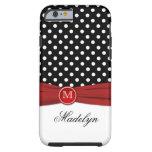 Monogram Black Red White Polka Dot iPhone 6 case